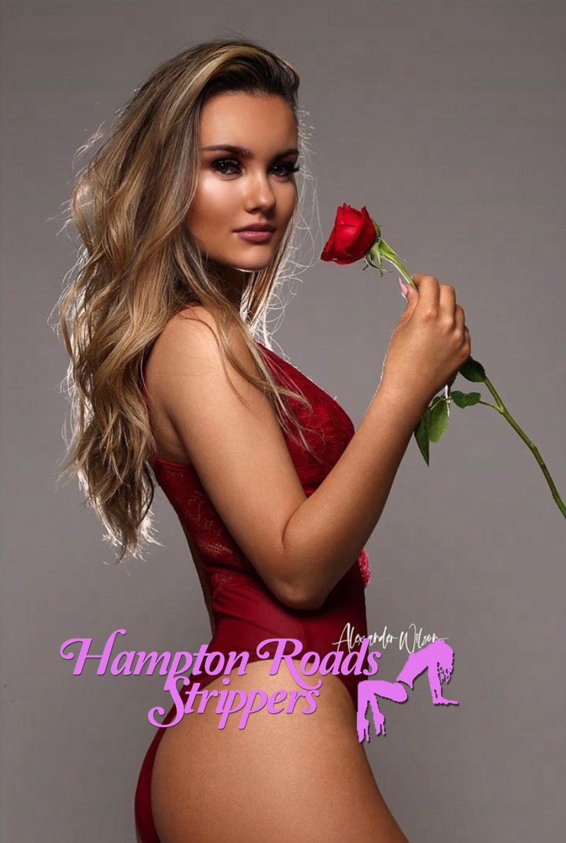 Hampton Roads Stripper holding red rose